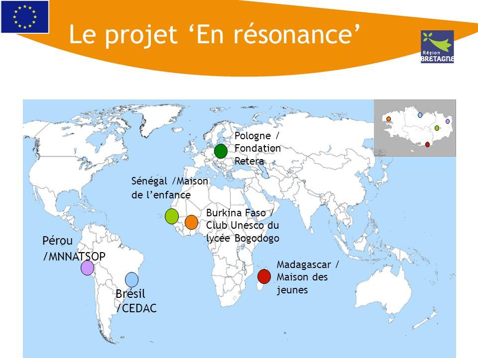 Burkina Faso / Club Unesco du lycée Bogodogo Brésil /CEDAC Pérou /MNNATSOP Sénégal /Maison de lenfance Madagascar / Maison des jeunes Pologne / Fondat