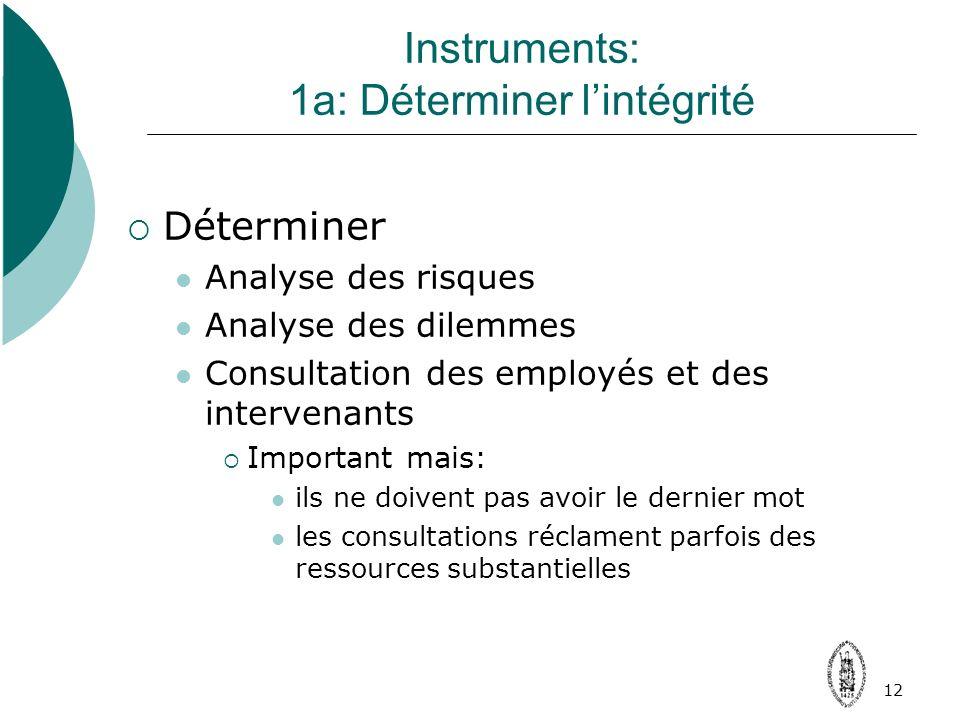 12 Instruments: 1a: Déterminer lintégrité Déterminer Analyse des risques Analyse des dilemmes Consultation des employés et des intervenants Important mais: ils ne doivent pas avoir le dernier mot les consultations réclament parfois des ressources substantielles