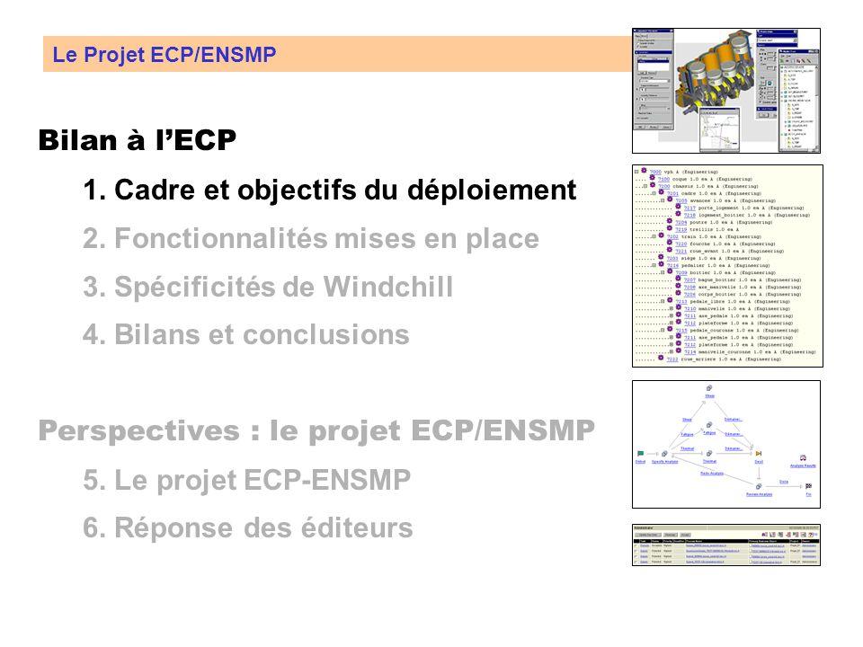 Bilan à lECP 1.Cadre et objectifs du déploiement 2.