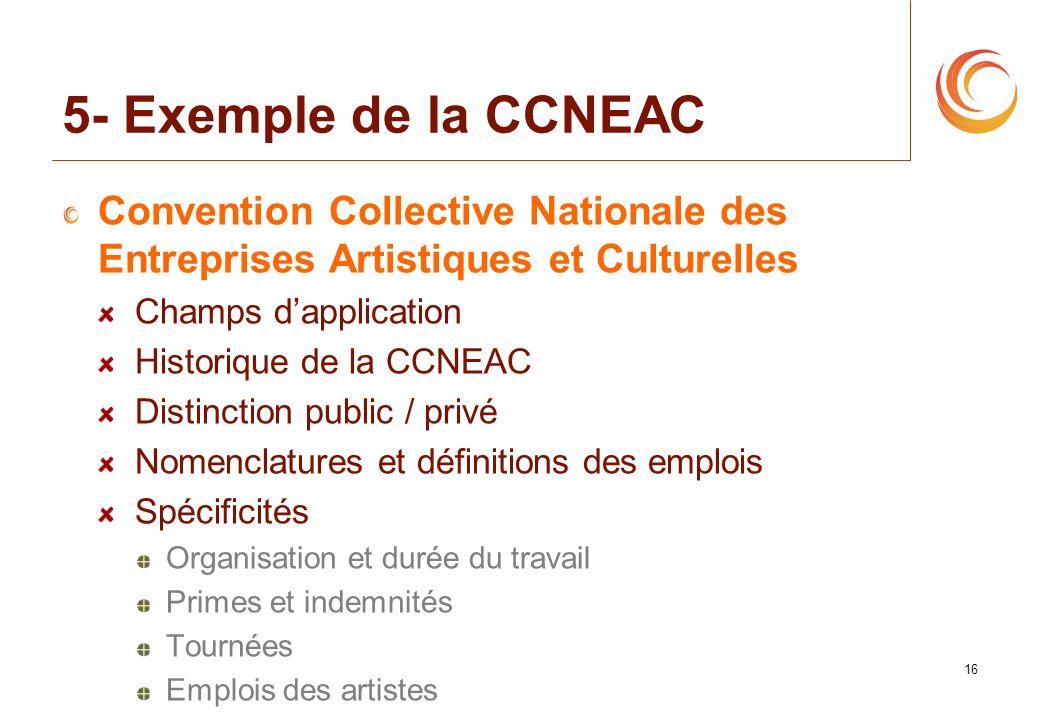 16 5- Exemple de la CCNEAC Convention Collective Nationale des Entreprises Artistiques et Culturelles Champs dapplication Historique de la CCNEAC Dist