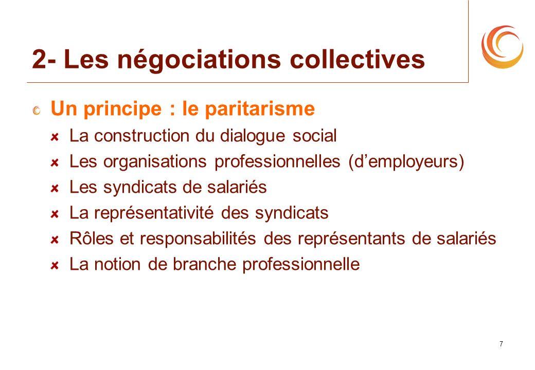 7 2- Les négociations collectives Un principe : le paritarisme La construction du dialogue social Les organisations professionnelles (demployeurs) Les