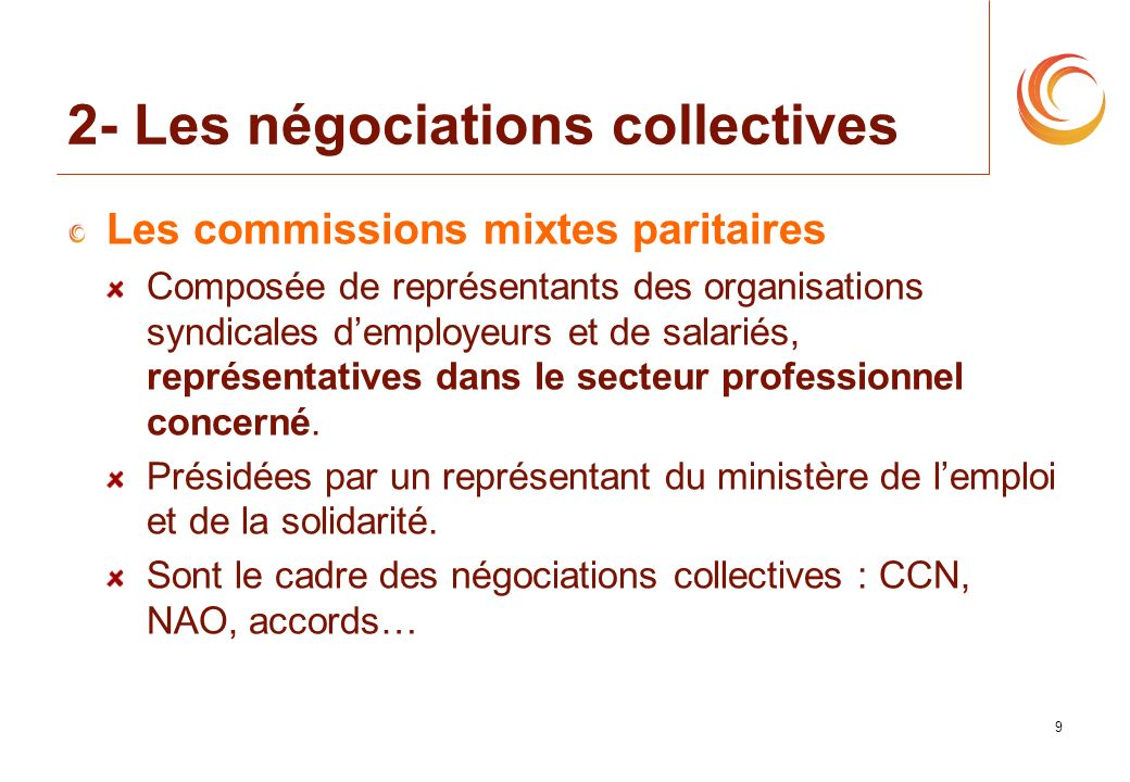 9 2- Les négociations collectives Les commissions mixtes paritaires Composée de représentants des organisations syndicales demployeurs et de salariés,
