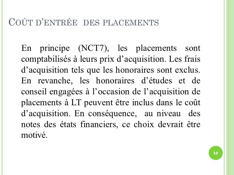 C OÛT D ENTRÉE DES PLACEMENTS En principe (NCT7), les placements sont comptabilisés à leurs prix dacquisition. Les frais dacquisition tels que les hon