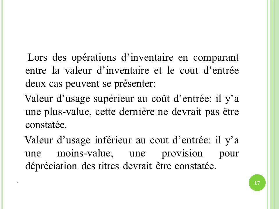 Lors des opérations dinventaire en comparant entre la valeur dinventaire et le cout dentrée deux cas peuvent se présenter: Valeur dusage supérieur au
