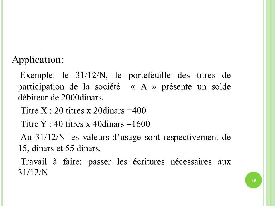 Application: Exemple: le 31/12/N, le portefeuille des titres de participation de la société « A » présente un solde débiteur de 2000dinars. Titre X :