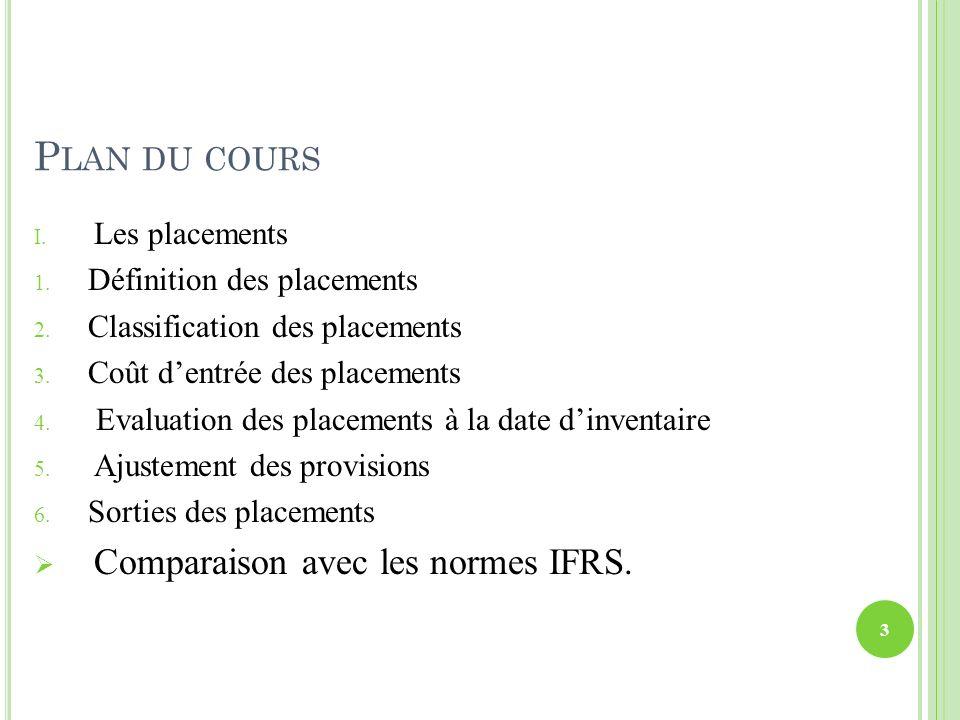 E VALUATION DES PLACEMENTS À LA DATE D INVENTAIRE Les principaux cas relatifs à lévaluation des placements sont présentés dans lalgorithme suivant : 14
