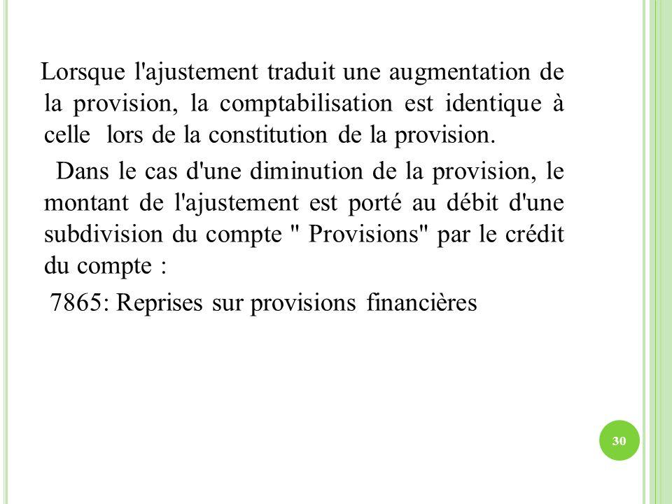 Lorsque l'ajustement traduit une augmentation de la provision, la comptabilisation est identique à celle lors de la constitution de la provision. Dans