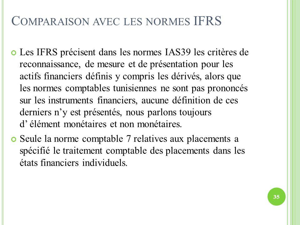 C OMPARAISON AVEC LES NORMES IFRS Les IFRS précisent dans les normes IAS39 les critères de reconnaissance, de mesure et de présentation pour les actif