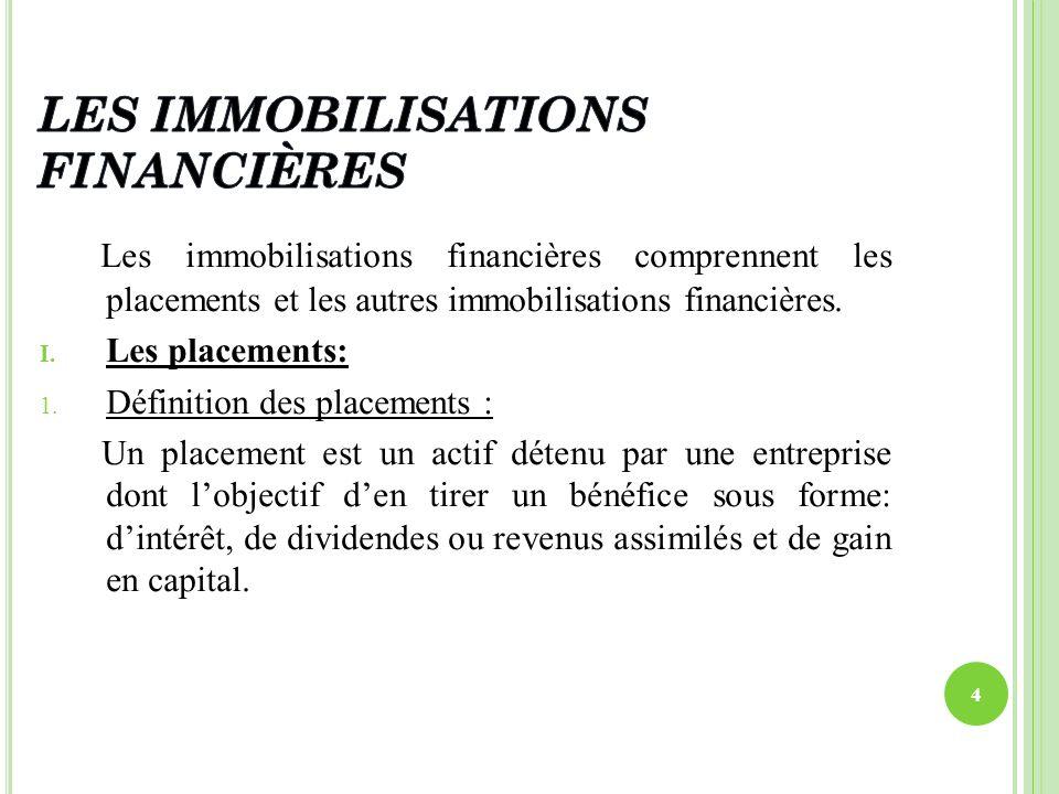 Les immobilisations financières comprennent les placements et les autres immobilisations financières. I. Les placements: 1. Définition des placements