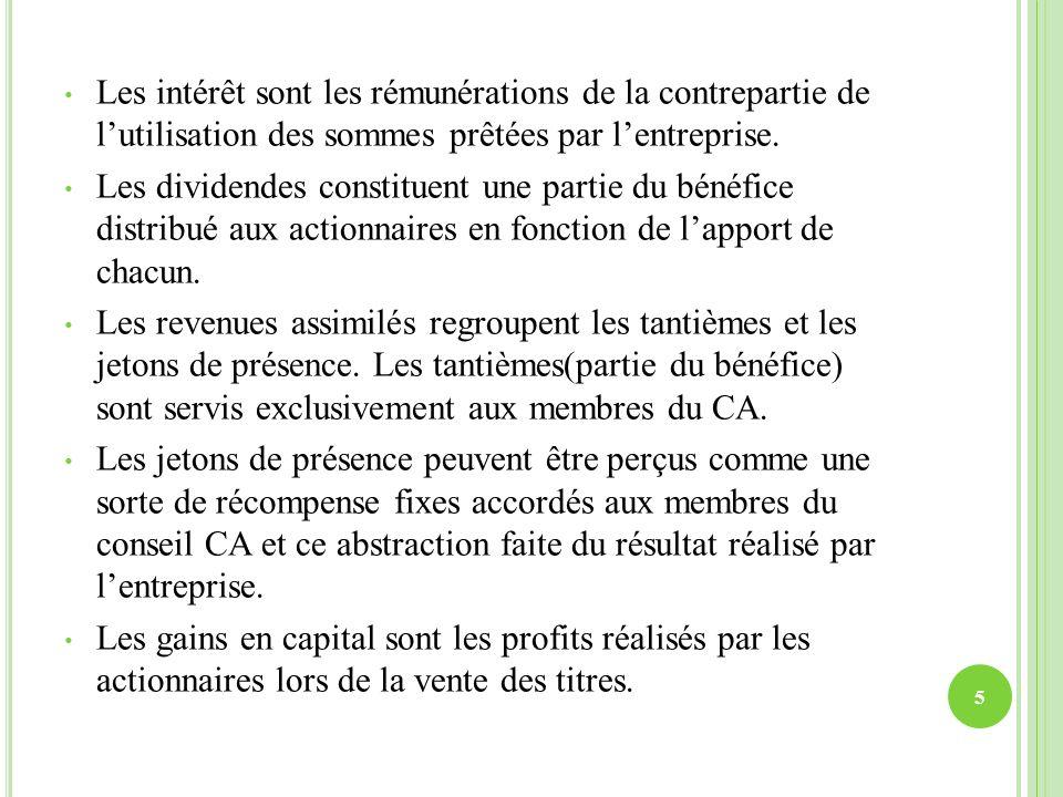 Les intérêt sont les rémunérations de la contrepartie de lutilisation des sommes prêtées par lentreprise. Les dividendes constituent une partie du bén