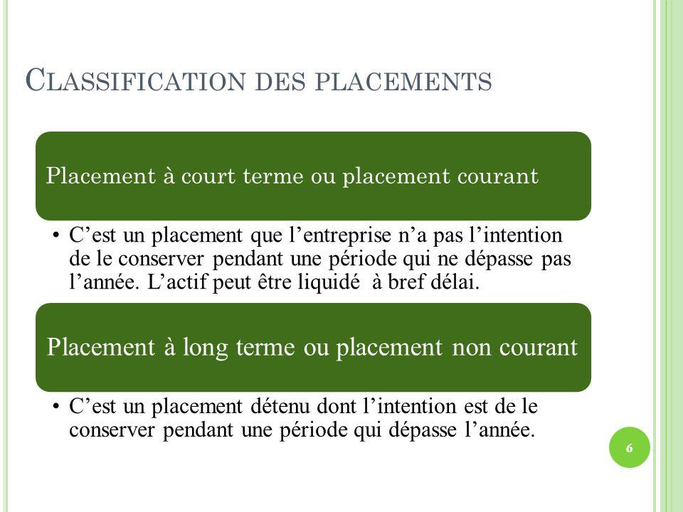 C LASSIFICATION DES PLACEMENTS Le schéma comptable dacquisition des deux types de placements.