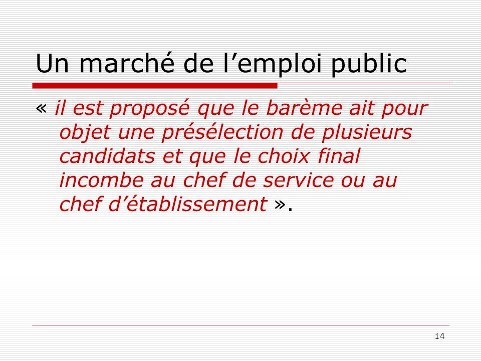 14 Un marché de lemploi public « il est proposé que le barème ait pour objet une présélection de plusieurs candidats et que le choix final incombe au chef de service ou au chef détablissement ».