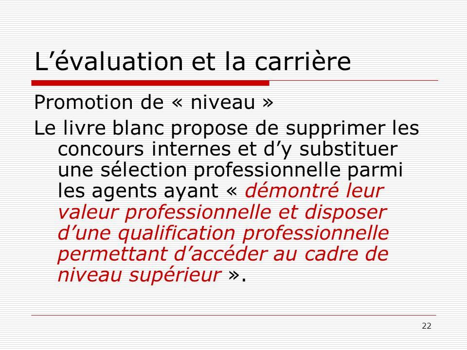 22 Lévaluation et la carrière Promotion de « niveau » Le livre blanc propose de supprimer les concours internes et dy substituer une sélection profess