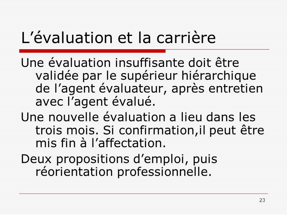 23 Lévaluation et la carrière Une évaluation insuffisante doit être validée par le supérieur hiérarchique de lagent évaluateur, après entretien avec l