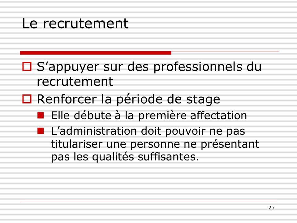 25 Le recrutement Sappuyer sur des professionnels du recrutement Renforcer la période de stage Elle débute à la première affectation Ladministration doit pouvoir ne pas titulariser une personne ne présentant pas les qualités suffisantes.