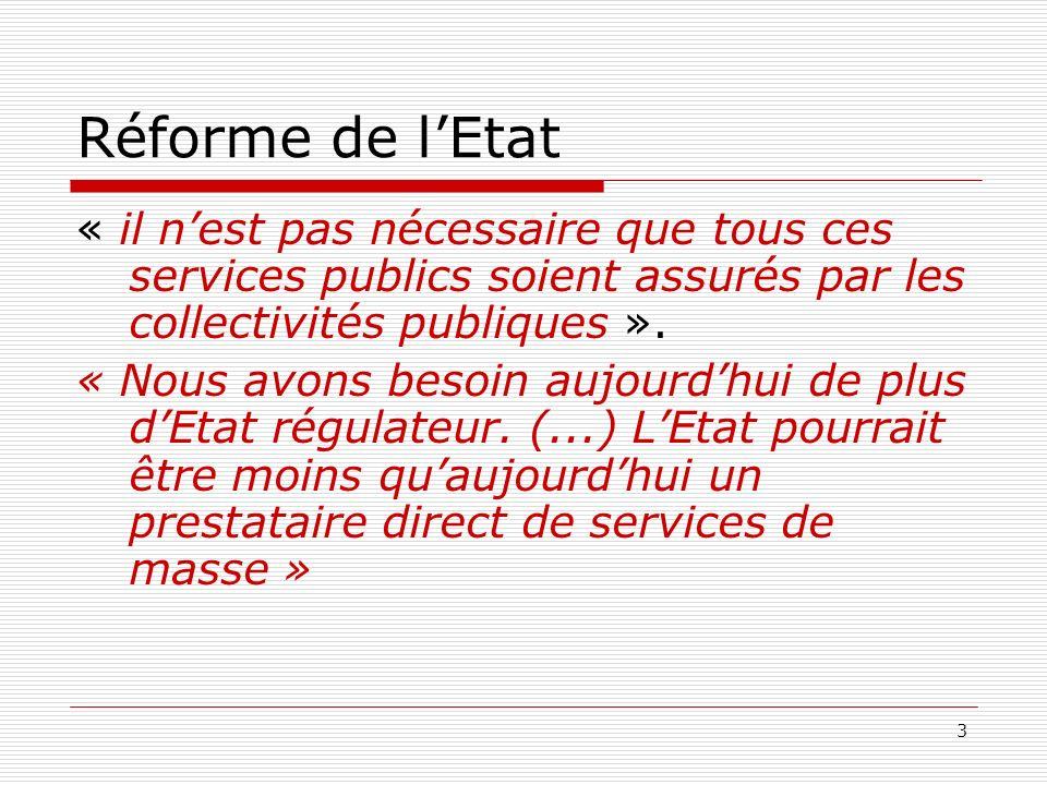 3 Réforme de lEtat « il nest pas nécessaire que tous ces services publics soient assurés par les collectivités publiques ». « Nous avons besoin aujour