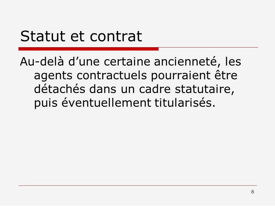 8 Statut et contrat Au-delà dune certaine ancienneté, les agents contractuels pourraient être détachés dans un cadre statutaire, puis éventuellement t