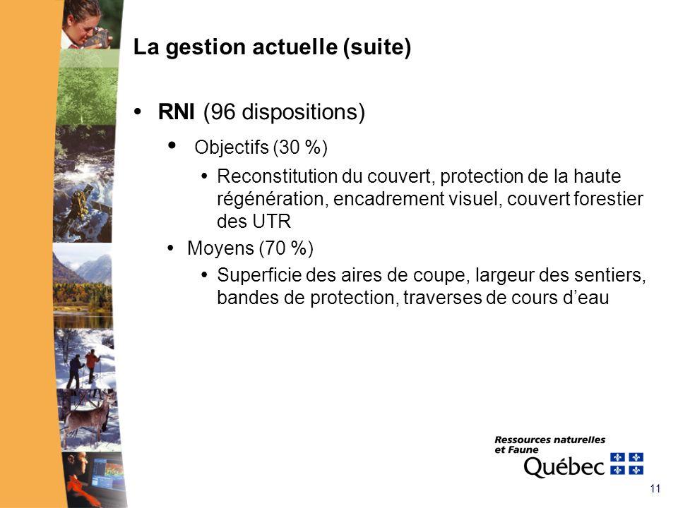 11 La gestion actuelle (suite) RNI (96 dispositions) Objectifs (30 %) Reconstitution du couvert, protection de la haute régénération, encadrement visuel, couvert forestier des UTR Moyens (70 %) Superficie des aires de coupe, largeur des sentiers, bandes de protection, traverses de cours deau