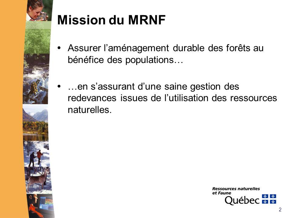 2 Mission du MRNF Assurer laménagement durable des forêts au bénéfice des populations… …en sassurant dune saine gestion des redevances issues de lutilisation des ressources naturelles.
