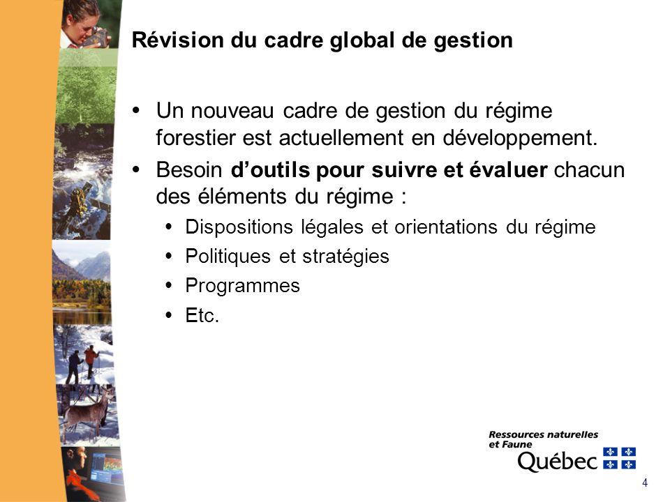 4 Révision du cadre global de gestion Un nouveau cadre de gestion du régime forestier est actuellement en développement.