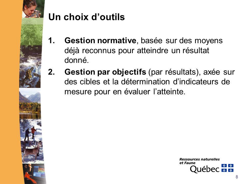 8 Un choix doutils 1.Gestion normative, basée sur des moyens déjà reconnus pour atteindre un résultat donné.