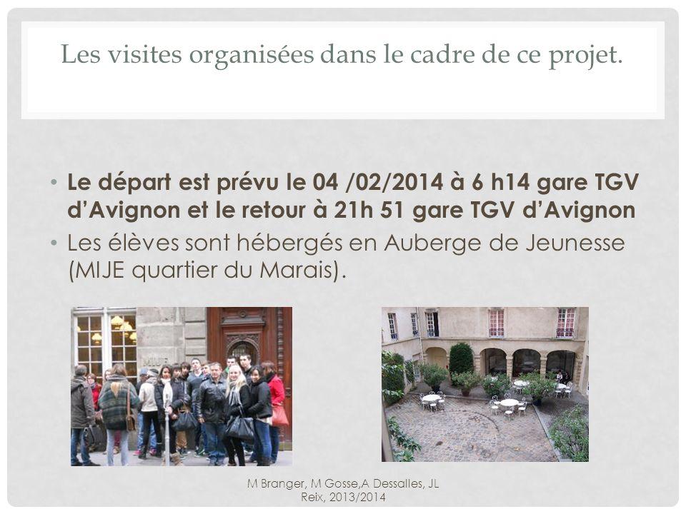 M Branger, M Gosse,A Dessalles, JL Reix, 2013/2014 Les visites organisées dans le cadre de ce projet.
