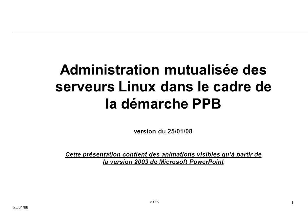 25/01/08 v 1.15 1 Administration mutualisée des serveurs Linux dans le cadre de la démarche PPB version du 25/01/08 Cette présentation contient des animations visibles quà partir de la version 2003 de Microsoft PowerPoint