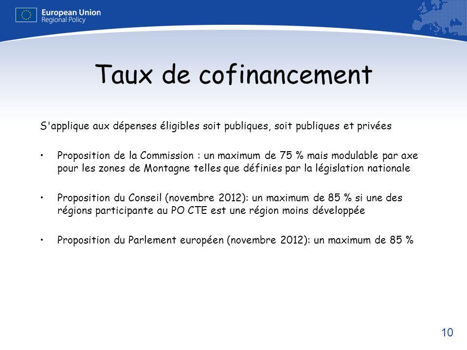 10 Taux de cofinancement S'applique aux dépenses éligibles soit publiques, soit publiques et privées Proposition de la Commission : un maximum de 75 %