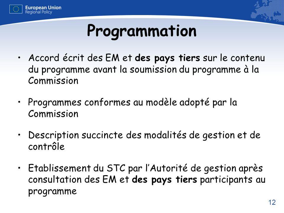 12 Programmation Accord écrit des EM et des pays tiers sur le contenu du programme avant la soumission du programme à la Commission Programmes conform