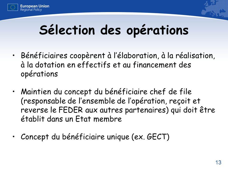 13 Sélection des opérations Bénéficiaires coopèrent à lélaboration, à la réalisation, à la dotation en effectifs et au financement des opérations Main