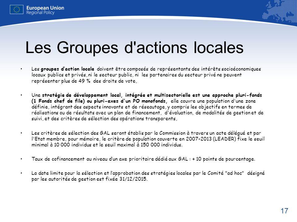 17 Les Groupes d'actions locales Les groupes daction locale doivent être composés de représentants des intérêts socioéconomiques locaux publics et pri