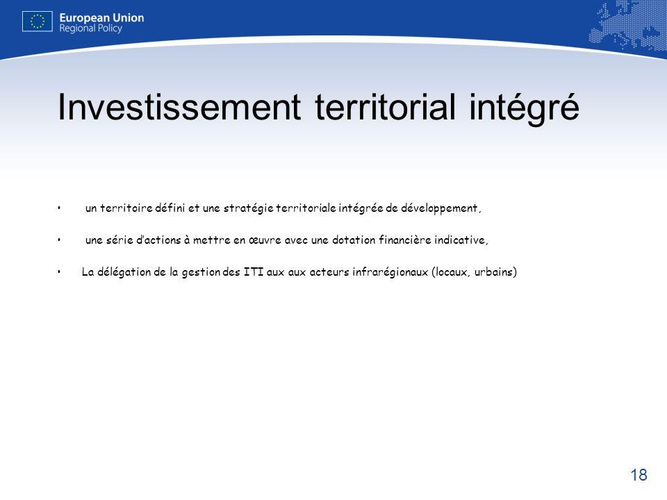 18 Investissement territorial intégré un territoire défini et une stratégie territoriale intégrée de développement, une série dactions à mettre en œuv
