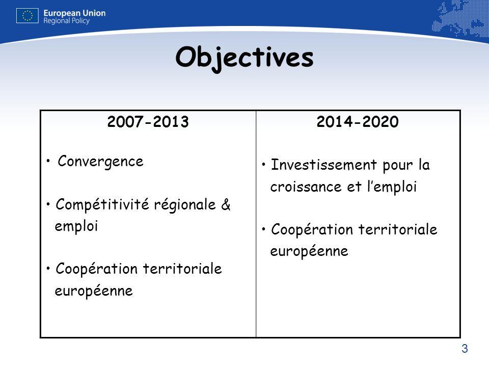 3 Objectives 2007-2013 Convergence Compétitivité régionale & emploi Coopération territoriale européenne 2014-2020 Investissement pour la croissance et