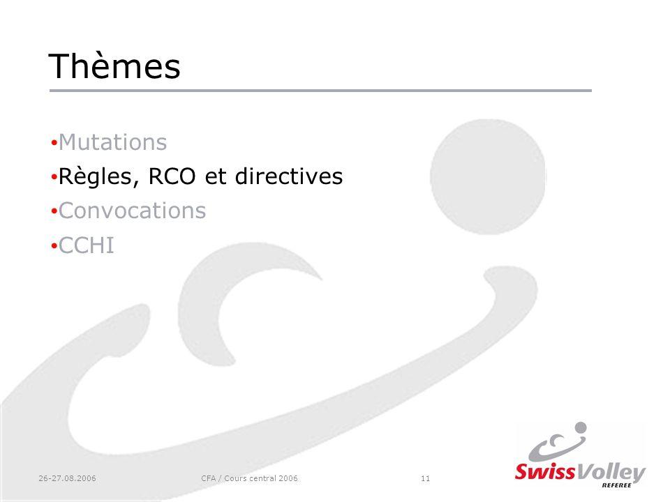 26-27.08.2006CFA / Cours central 200611 Thèmes Mutations Règles, RCO et directives Convocations CCHI