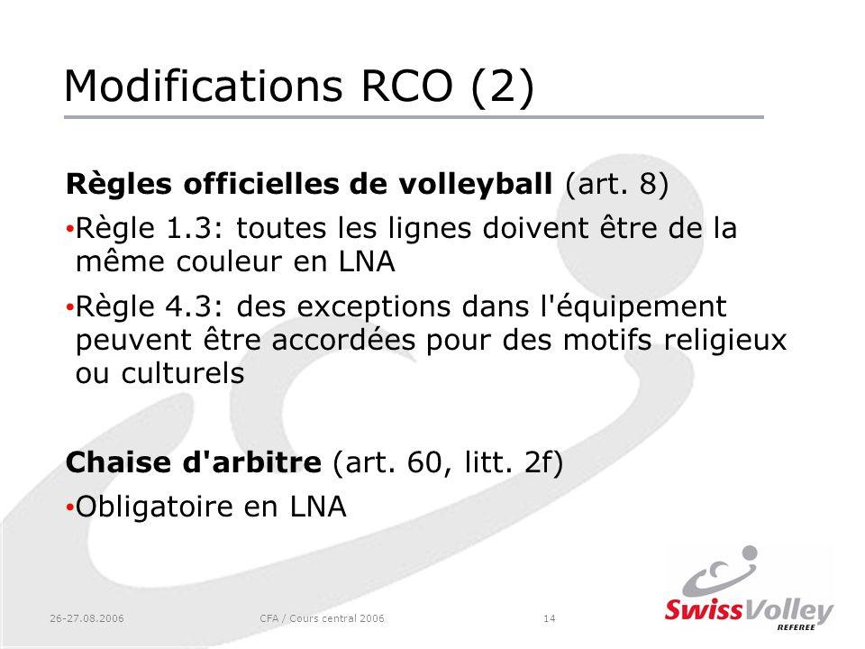 26-27.08.2006CFA / Cours central 200614 Modifications RCO (2) Règles officielles de volleyball (art. 8) Règle 1.3: toutes les lignes doivent être de l
