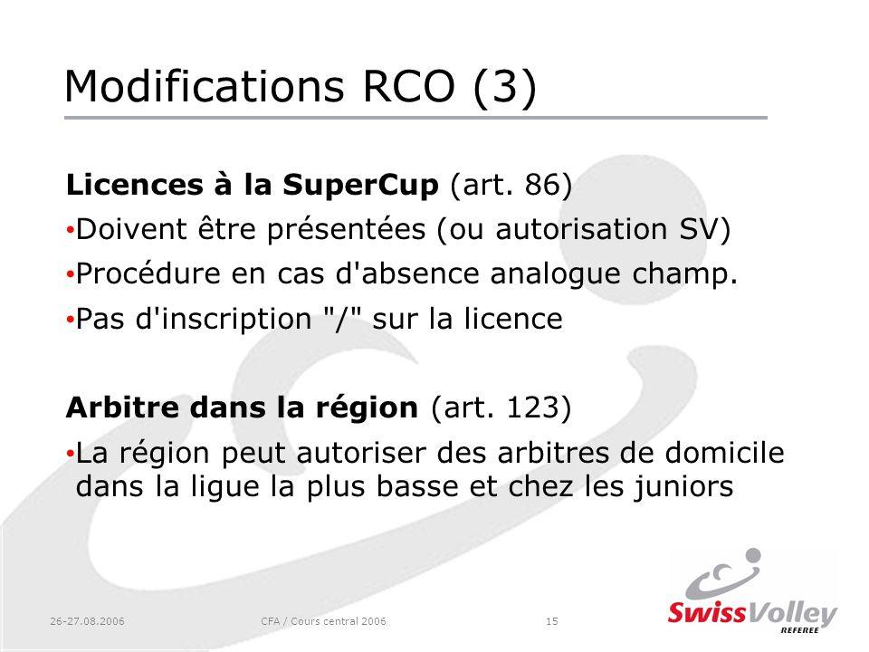 26-27.08.2006CFA / Cours central 200615 Modifications RCO (3) Licences à la SuperCup (art. 86) Doivent être présentées (ou autorisation SV) Procédure