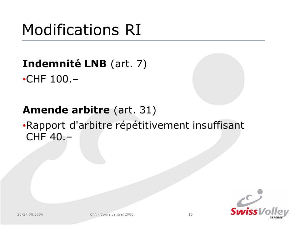 26-27.08.2006CFA / Cours central 200616 Modifications RI Indemnité LNB (art. 7) CHF 100.– Amende arbitre (art. 31) Rapport d'arbitre répétitivement in