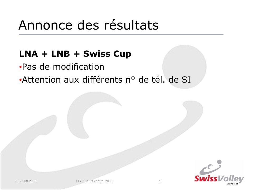 26-27.08.2006CFA / Cours central 200619 Annonce des résultats LNA + LNB + Swiss Cup Pas de modification Attention aux différents n° de tél. de SI