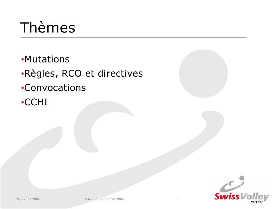 26-27.08.2006CFA / Cours central 20062 Thèmes Mutations Règles, RCO et directives Convocations CCHI