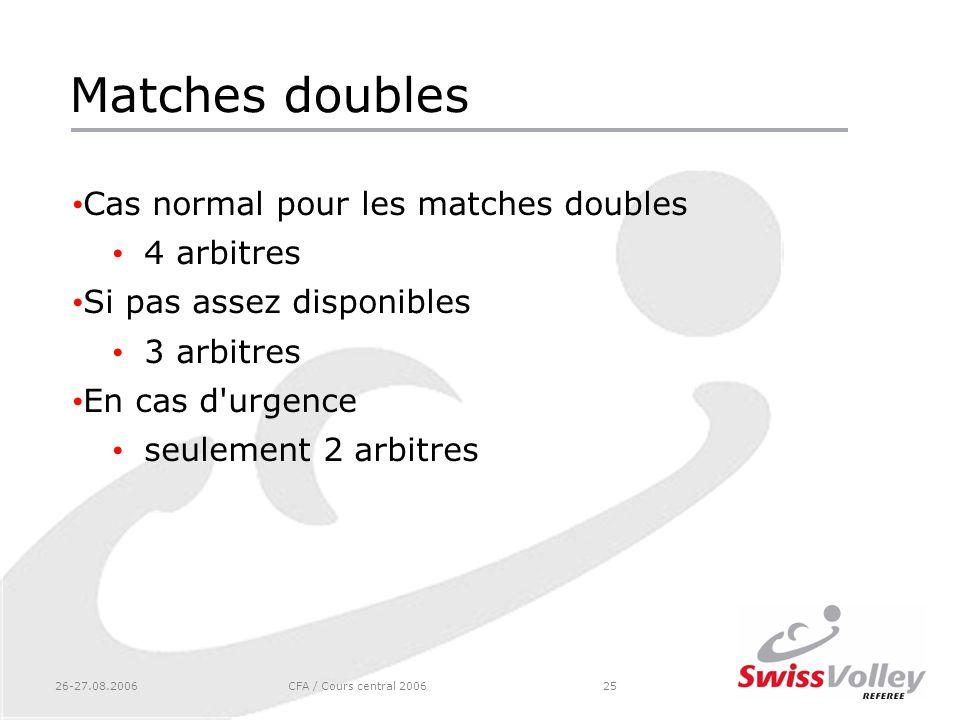 26-27.08.2006CFA / Cours central 200625 Matches doubles Cas normal pour les matches doubles 4 arbitres Si pas assez disponibles 3 arbitres En cas d'ur
