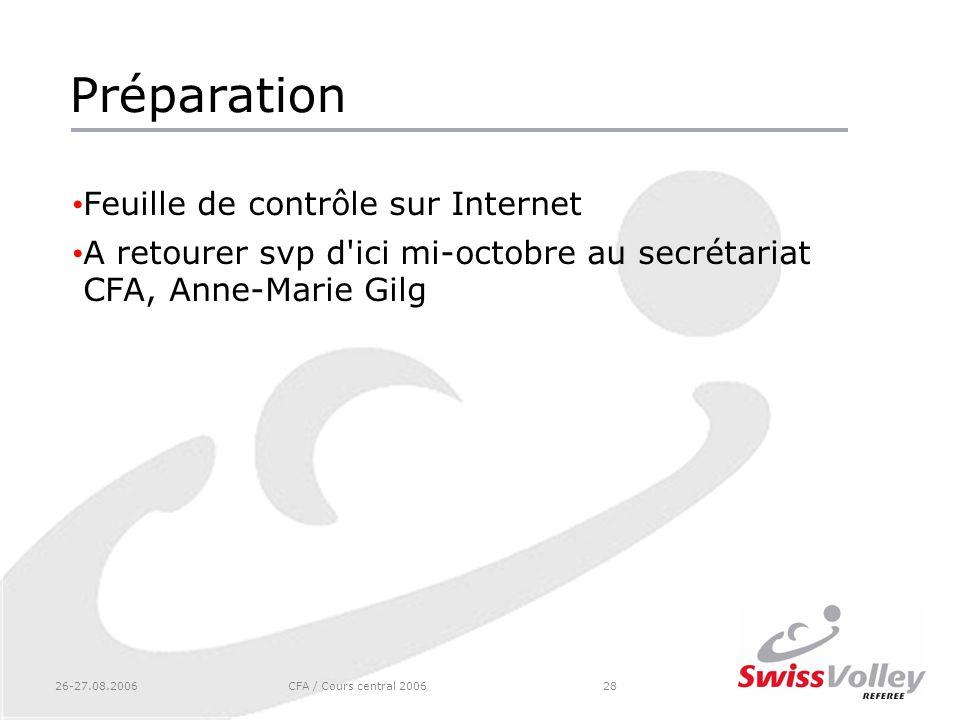 26-27.08.2006CFA / Cours central 200628 Préparation Feuille de contrôle sur Internet A retourer svp d'ici mi-octobre au secrétariat CFA, Anne-Marie Gi