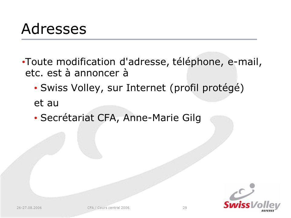 26-27.08.2006CFA / Cours central 200629 Adresses Toute modification d'adresse, téléphone, e-mail, etc. est à annoncer à Swiss Volley, sur Internet (pr