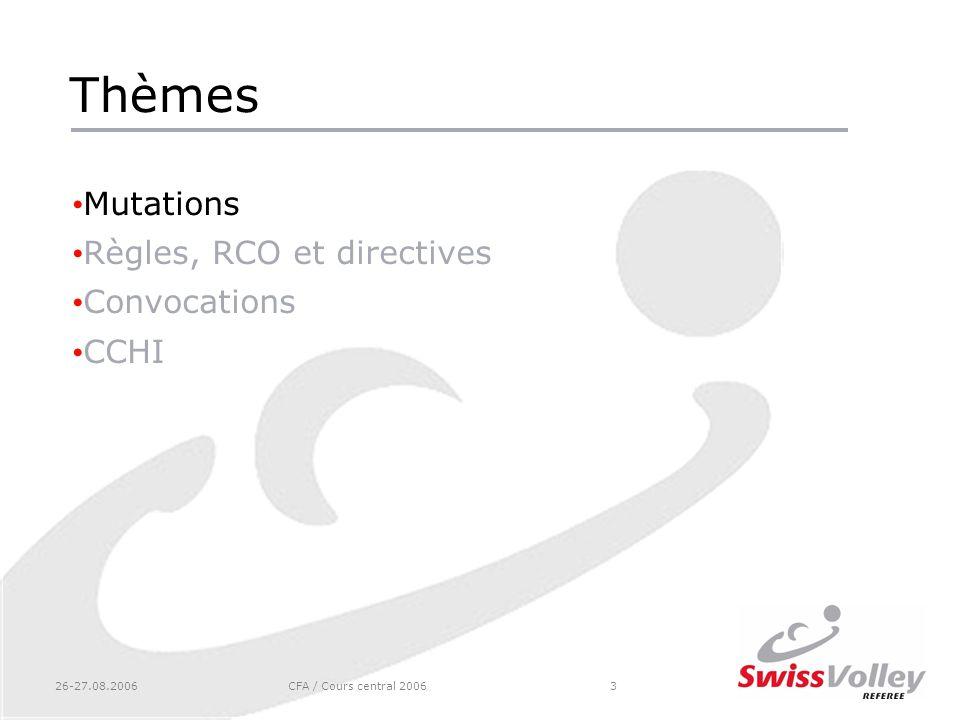 26-27.08.2006CFA / Cours central 20063 Thèmes Mutations Règles, RCO et directives Convocations CCHI