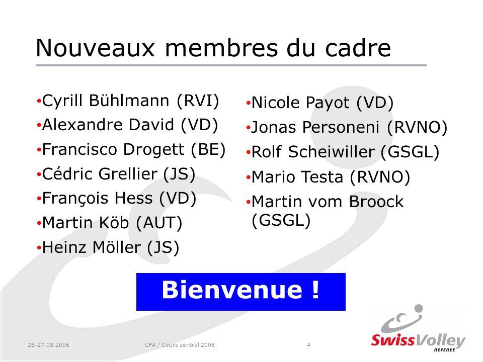 26-27.08.2006CFA / Cours central 20064 Nouveaux membres du cadre Cyrill Bühlmann (RVI) Alexandre David (VD) Francisco Drogett (BE) Cédric Grellier (JS