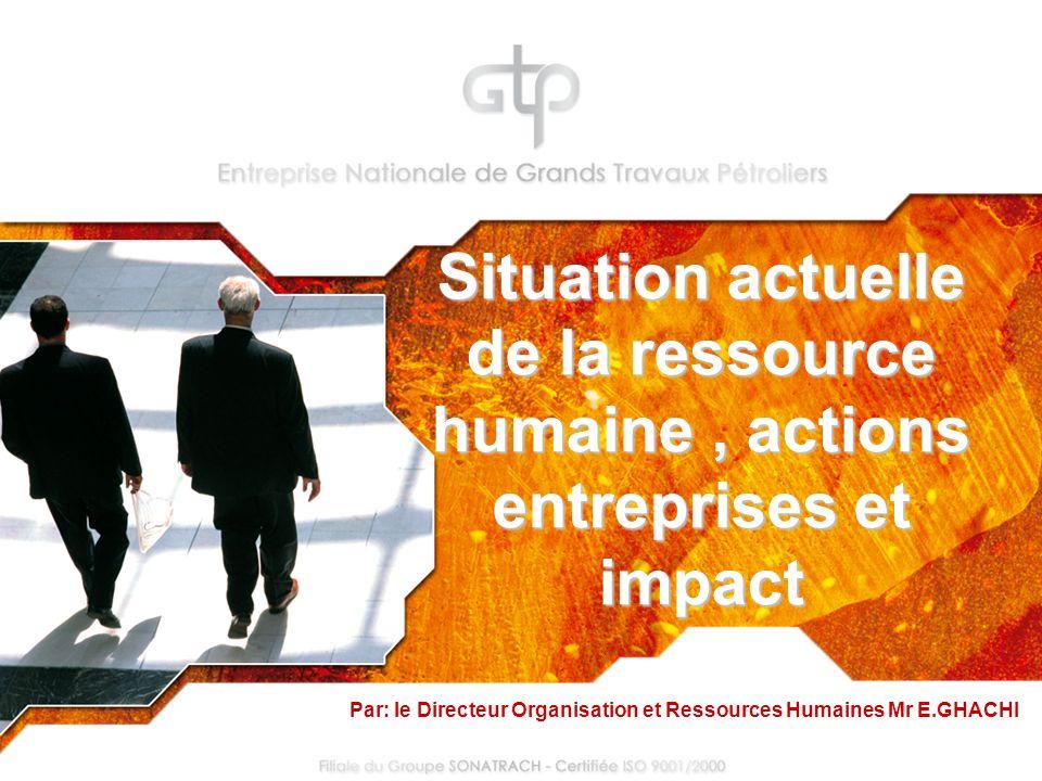 Situation actuelle de la ressource humaine, actions entreprises et impact Par: le Directeur Organisation et Ressources Humaines Mr E.GHACHI