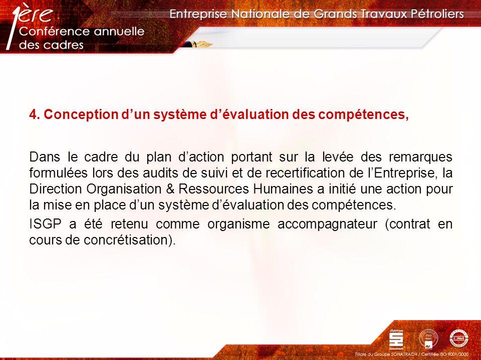 4. Conception dun système dévaluation des compétences, Dans le cadre du plan daction portant sur la levée des remarques formulées lors des audits de s