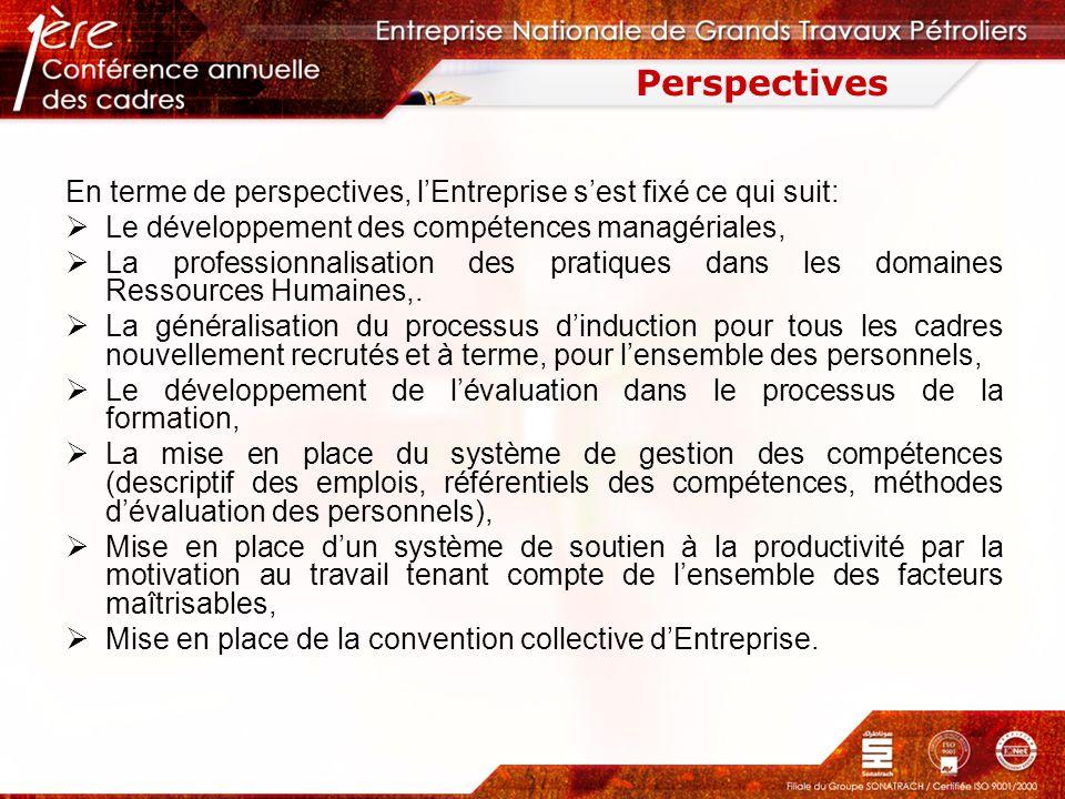 Perspectives En terme de perspectives, lEntreprise sest fixé ce qui suit: Le développement des compétences managériales, La professionnalisation des p