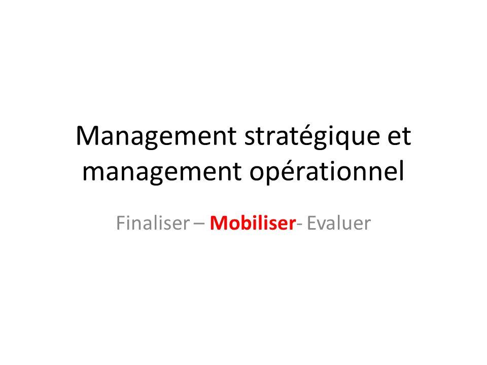 Management stratégique et management opérationnel Finaliser – Mobiliser- Evaluer