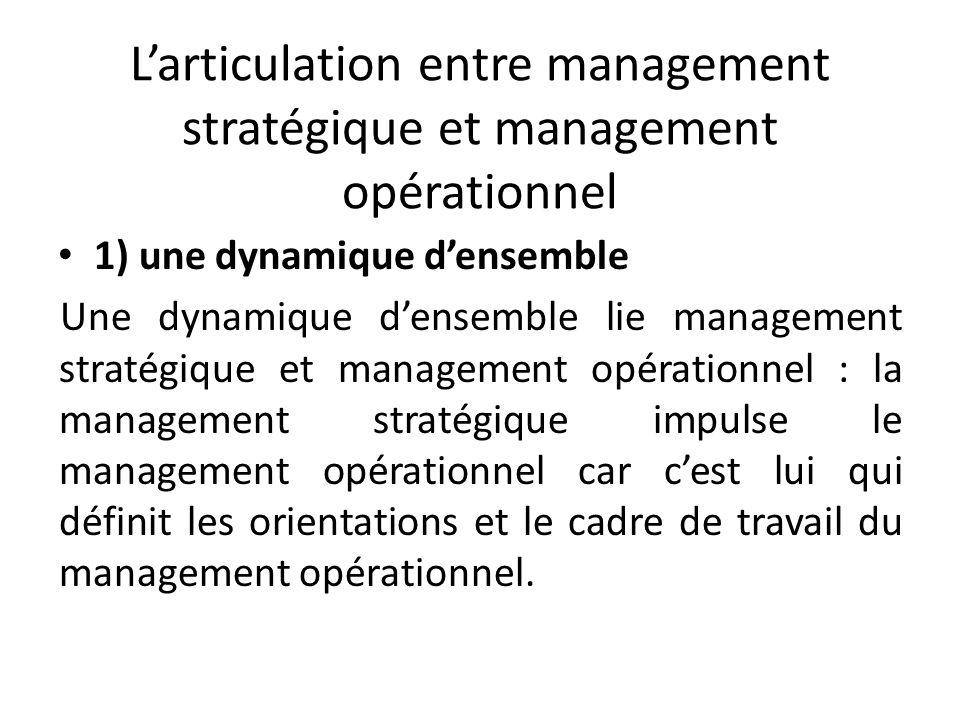 Larticulation entre management stratégique et management opérationnel 1) une dynamique densemble Une dynamique densemble lie management stratégique et management opérationnel : la management stratégique impulse le management opérationnel car cest lui qui définit les orientations et le cadre de travail du management opérationnel.