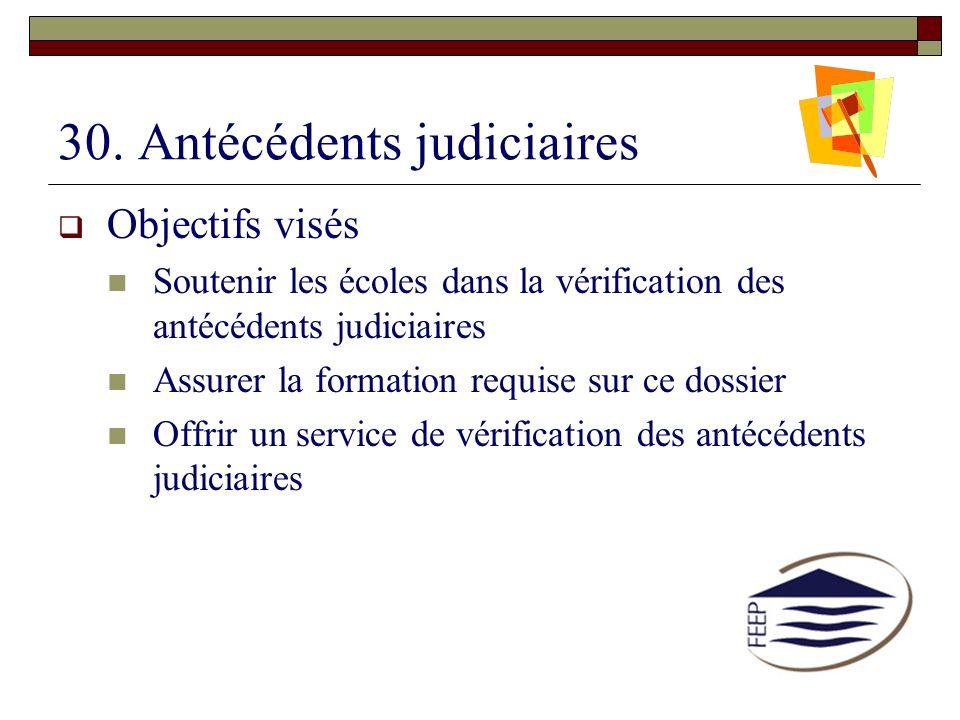 30. Antécédents judiciaires Objectifs visés Soutenir les écoles dans la vérification des antécédents judiciaires Assurer la formation requise sur ce d